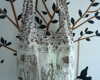 Ivory IHippie Elephant Hobo Sling Crossbody Bag Messenger Purse