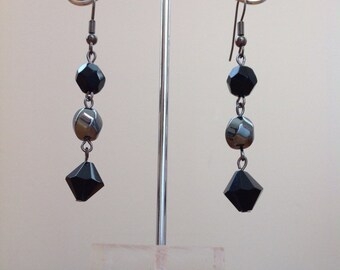 Grey metallic and black swarovski beaded earrings