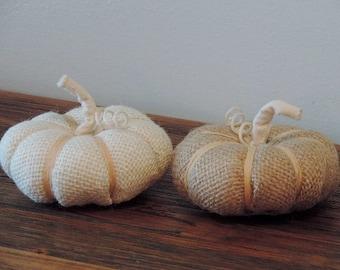 Fabric Pumpkins Small Burlap Pumpkins Fall Decorations Autumn Decor (Set of 2)