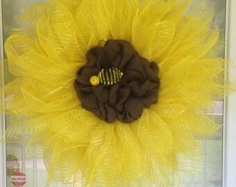 Spring Summer Bumble Bee Sunflower Wreath Yellow Door Wreath
