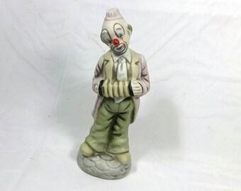 Vintage Boho Porcelain Clown/Accordion Decorative Clown Figurine
