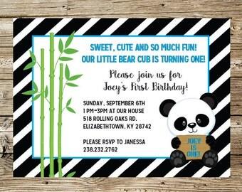 Panda Bear Boy birthday party invitation