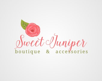Premade Logo, Boutique Logo, Boutique Logo Design, Typography Logo, Custom Business Logo, Flower Logo