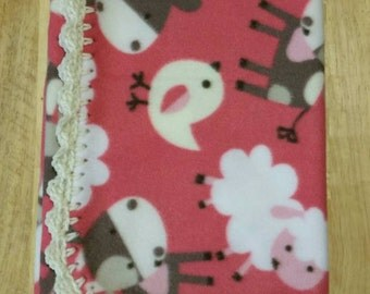 Coral Baby Farm Animals Fleece Baby Blanket with Hand Crocheted Border