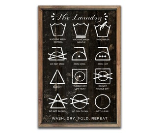 """Laundry instructions sign laundry signs laundry room decor laundry plaques mudroom signs laundry symbols laundry room decor  13.5""""x19""""x2"""""""