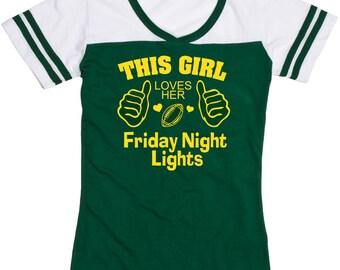 This Girl Loves her Friday Night Lights Shirt! Junior Fit Football Shirt Boxercraft Powder Puff Tee