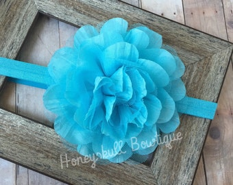 Giant Light Turquoise Blue Flower Headband or Hair Clip for All Ages