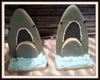 3-D Shark Decorated Sugar Cookies  -1 dozen