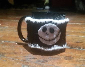Hand Made Crocheted Jack Skellington Nightmare Before Christmas Mug Cozy