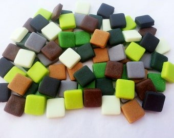30 MINECRAFT SQUARE PIXELS (choose colour) -  Sugar fondant mosaic edible cupcake topper decorations 1cm retro gaming