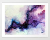 Art Print, Watercolor Painting, Abstract Purple Art, Canvas Print, Beach, Ocean, Nature inspired, Home Decor, Wall Decor.