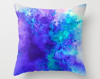 Watercolor Pillow, Throw Pillow, Purple and Turquoise ,Accent Pillow, Home Decor,  with Optional Insert
