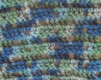 "Blue Green Boys Blanket Crochet Afghan 39"" x 46"" Hand Crochet Variegated Blues Greens, Lap Afghan, Boys Room Decor, Extra Large Crib Blanket"