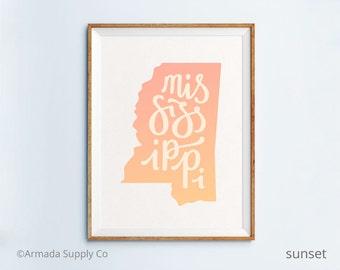 Mississippi print - Mississippi art - Mississippi poster - Mississippi wall art