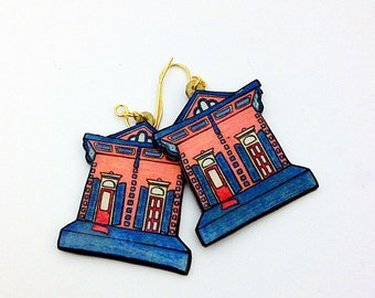 New Orleans Shotgun House in Watermelon and Teal – Orleans Ave. Earrings