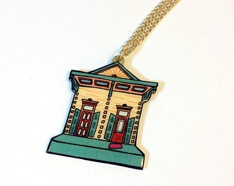 New Orleans Shotgun House in Butter Yellow and Seafoam – Clouet St. Necklace
