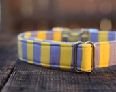 The Yellow and Gray Striped Collar, gray, bright yellow, geometric, Male Dog, Summer, Classic, Metal Buckle