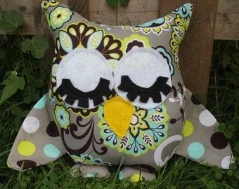 Grey,green and blue flowered/polka dot stuffed sleep owl/pillow/plushies/nursery decor