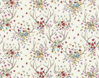 Cotton Quilt Fabric by the yard, Enchanted Antlers in Cream, Dear Stella, Stella-431