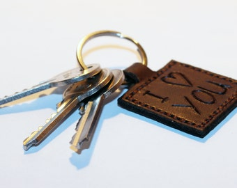 "Leather key chain "" I LOVE YOU"", leather key fob, handmade brown key chain, leather key ring, handmade leather accessories."