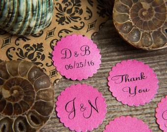 100+ Fuchsia Pink Save the Date Envelope seals, wedding stickers invitations. Printed Custom Scalloped Round wedding Favour stickers. Matt