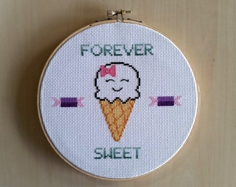 Forever Sweet Ice Cream Cross Stitch
