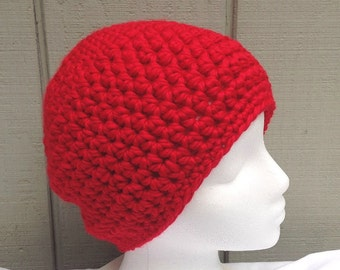 Red crochet beanie - Wool blend red hat - Chunky red beanie - Bulky crochet hat - Teens red beanie