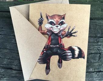 Marvel Rocket Raccoon (Guardians of the Galaxy) Comic Book Greeting Card (Blank)
