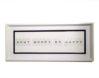 Large Framed Vintage Alphabet Card Message 'Don't worry be happy'