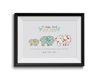 Personalised Printable File, Family Name, Family Motivation Quote,Baby Elephant,Nursery Art,Children Room,instant download print,Shabby Chic