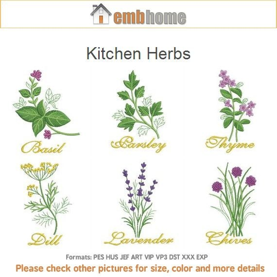Kitchen Herbs Machine Embroidery Designs Instant Download 4x4 Hoop 10 Designs Ape2169 From