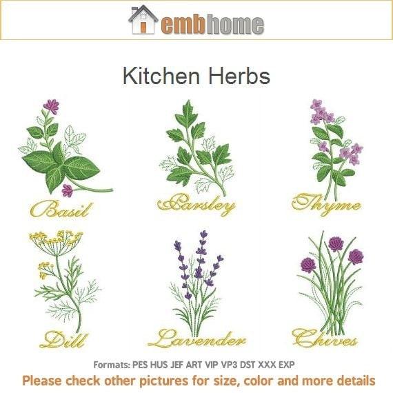 Kitchen Herbs Machine Embroidery Designs Instant Download 4x4