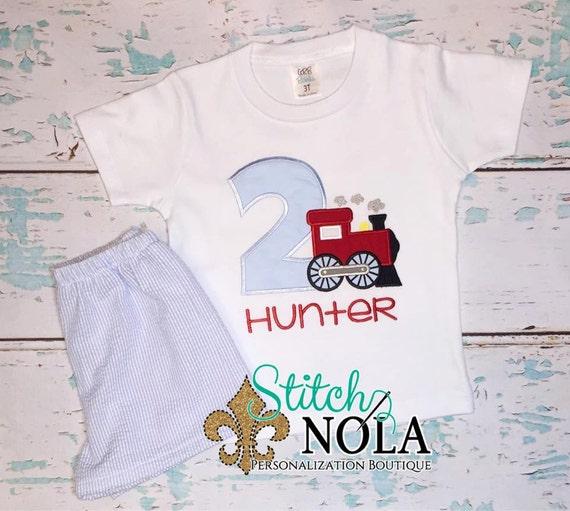 Train Birthday Shirt & Seersucker Short Set