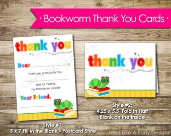 Girl Bookworm Thank You Cards- Instant Download