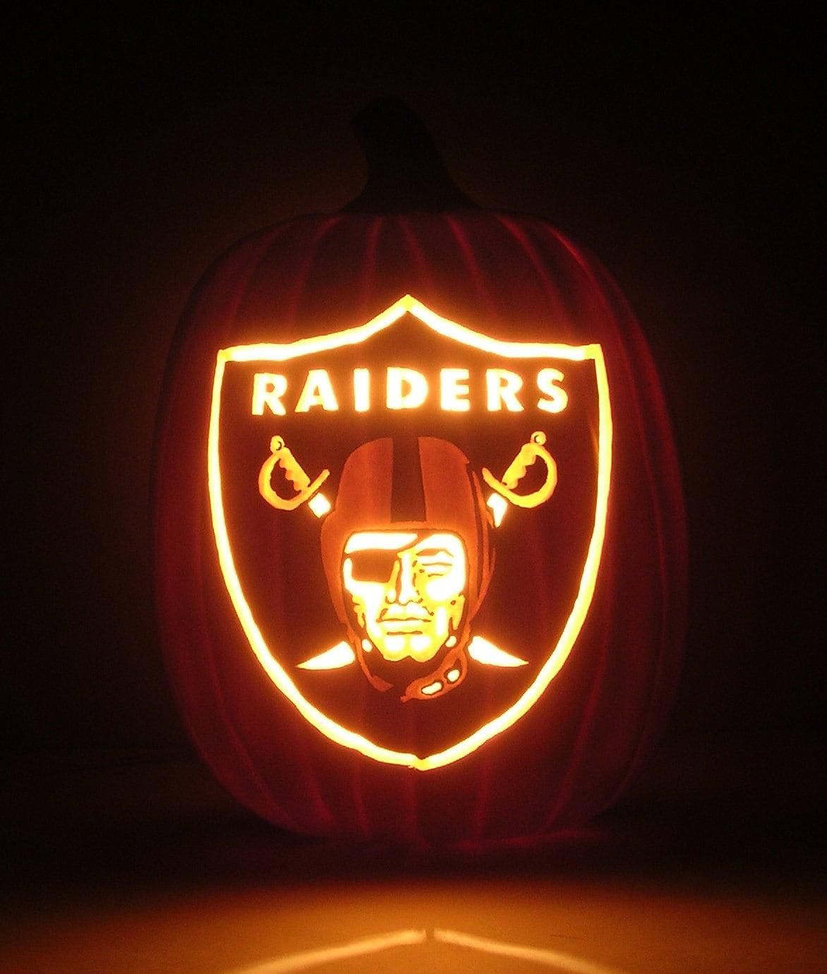 Oakland raiders team logo hand carved foam pumpkin