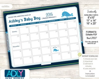 Boy Whale Guess Due Date Calendar for Baby Shower, Predictions Printable,baby arrival date,Navy Green,Chevron - oz08bs74