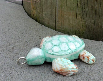 Aqua Sea Shell Turtle Pendant