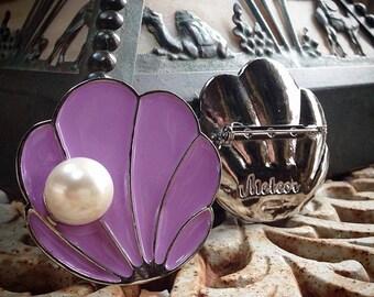 Shell Brooch, Enamel, The Tahitian, Lavender Vintage Inspired Brooch
