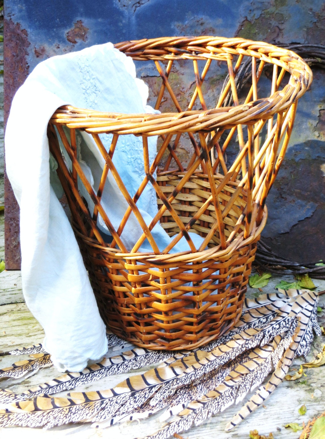 Woven rattan basket waste basket vintage wicker rattan - Wicker trash basket ...