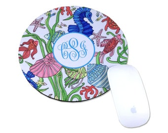 Personalized Mouse Pad Monogram Round Mouse Pad Monogrammed Mouse Pad Computer Mouse Pad Personalized Desk Accessories