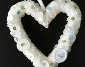 White Valentine heart, Valentine's Day,engagement, wedding gift, bridesmaid gift, pew / aisle decoration, bridesmaid accessory, Mother's Day