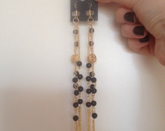 Long gold Dangle Earrings! Black And Gold! Perfect gift!