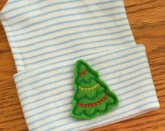 Newborn Hospital Hat! Blue and White Striped hospital hat topped off with Christmas Tree applique!