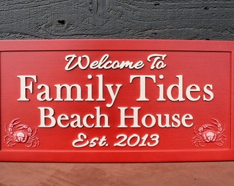 Beach House Sign Family Name Sign Carved Sign Weathered Wood Sign Personalized Sign Carved Wooden Sign Fishing Sign Wildlife Sign