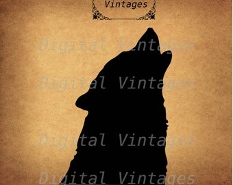 Howling Wolf Head Silhouette Illustration Antique Digital Image Download Printable Graphic Clip Art Transfers HQ 300dpi jpg png svg