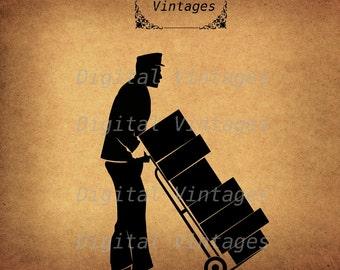 Delivery Packages Mail Luggage illustration Vintage Digital Image Download Printable Clip Art Prints HQ 300dpi svg jpg png