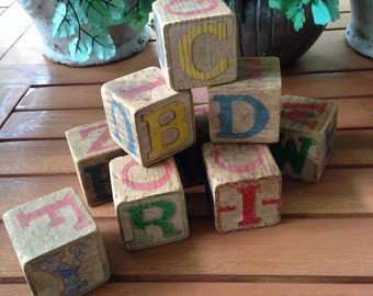 Wood Blocks with Numbers & Letters 1920s