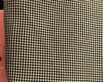 1.7 yds Black Tan Houndstooth fabric rayon vintage