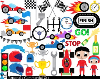 Race Cars v1 - Digital Clipart, Clip Art Graphics, Personal Use, Commercial Use, Instant download - 102 images (00228)
