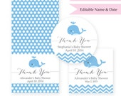 INSTANT DOWNLOAD - Editable Text - Blue Whale Baby Shower Thank You Tag - Printable Instant Download